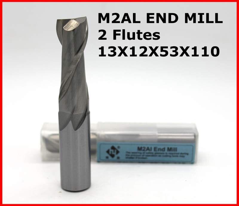 Broca de enrutador 13*12*53*110 de 2 Flutes HSS M2AL diámetro del molino de extremo 13mm CNC máquina de fresado herramientas mills cortador