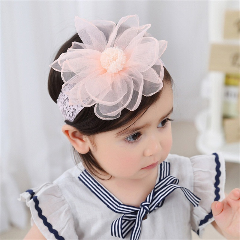 2018 Newborn Toddler Baby Girl Elastic Headband Chiffon Flower Photography Headband For Girls Headwear