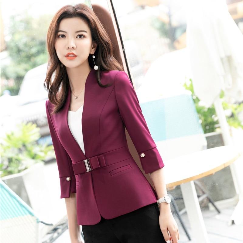 2019 Spring Summer Half Sleeve Formal Blazers and Jackets Coat OL Styles Office Ladies Female Tops Clothes Elegant Maroon Red