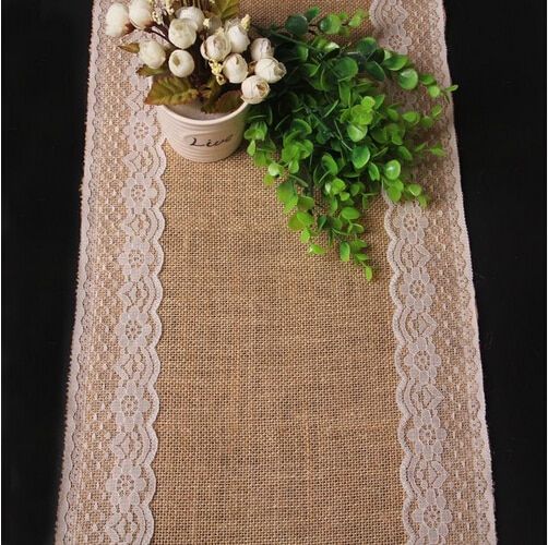 Encaje decoración de boda yute camino de mesa suministros para eventos de fiesta arpillera vintage retro Accesorios de arpillera