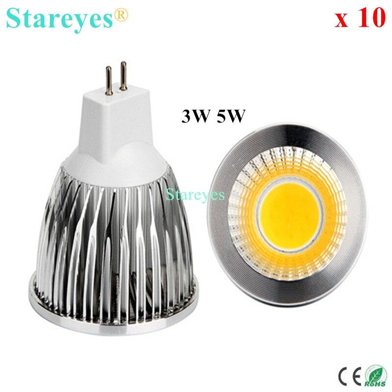 10 Uds. Regulable 5W 3W MR16 AC y DC12V foco led cob downlight iluminación LED lámpara bombilla led proyector lámpara led luz LED