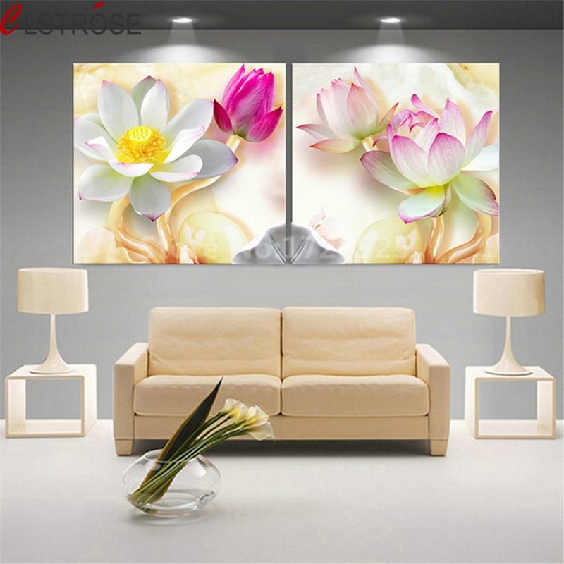 CLSTROSE sin marco 2 uds imágenes 3D Lotus cuadro sobre lienzo para pared decoración del hogar para pintura para sala de estar en los carteles de la pared HD
