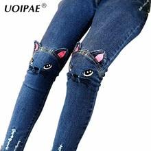 Jeans grande taille pour filles   Leggings Slim, en coton, tenue décontractée, 2507B, motif chat de dessin animé, 2018