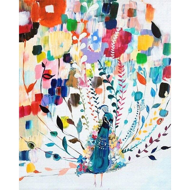 Color Pavo Real Animal DIY pintura Digital por números arte de pared moderno lienzo pintura navidad regalo único hogar Decoración 40x50cm