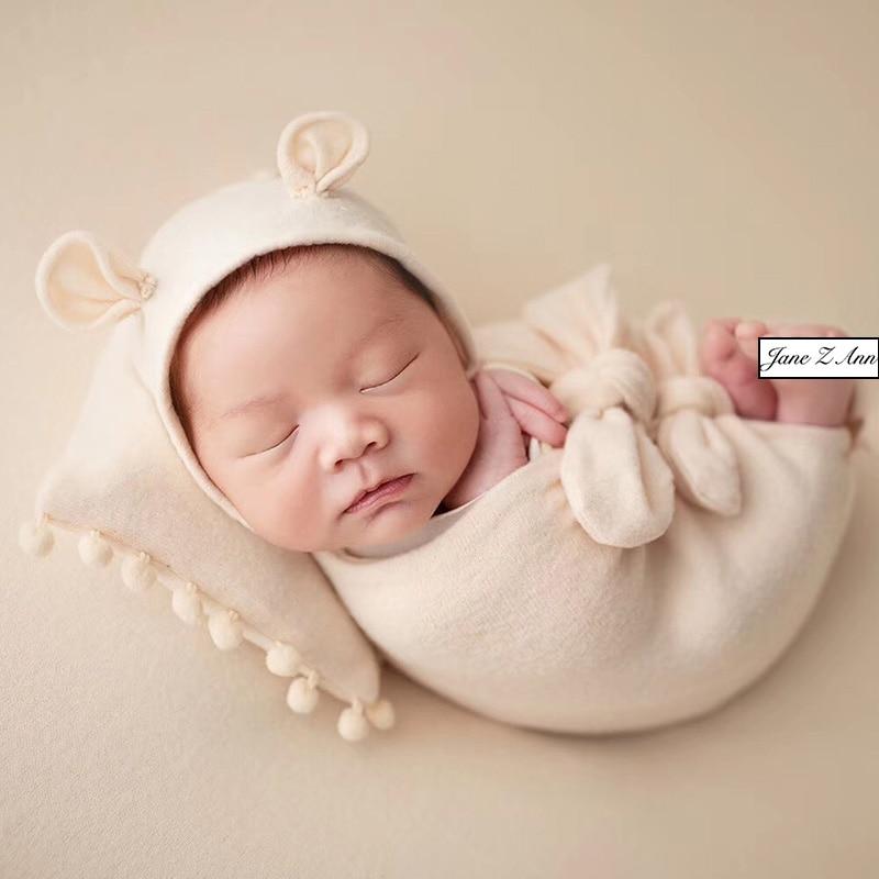 Accesorios de fotografía de estudio de bebé recién nacido Jane Z Ann 5ps conjunto sombrero + almohada + envoltura de arco + envoltura + diadema estudio gemelos accesorios de disparo