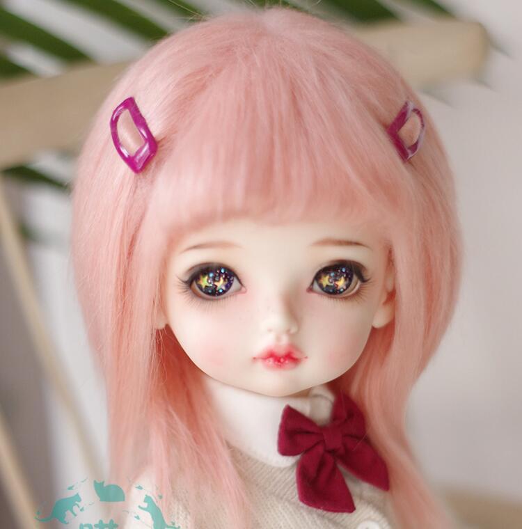 Nuevo 1/12 12cm 3-4 pulgadas 9-10cm 1/8 4-5 pulgadas 14cm BJD tejido de piel peluca pico rosa para AE PukiFee muñeca lati antideslizante peluca muñeca