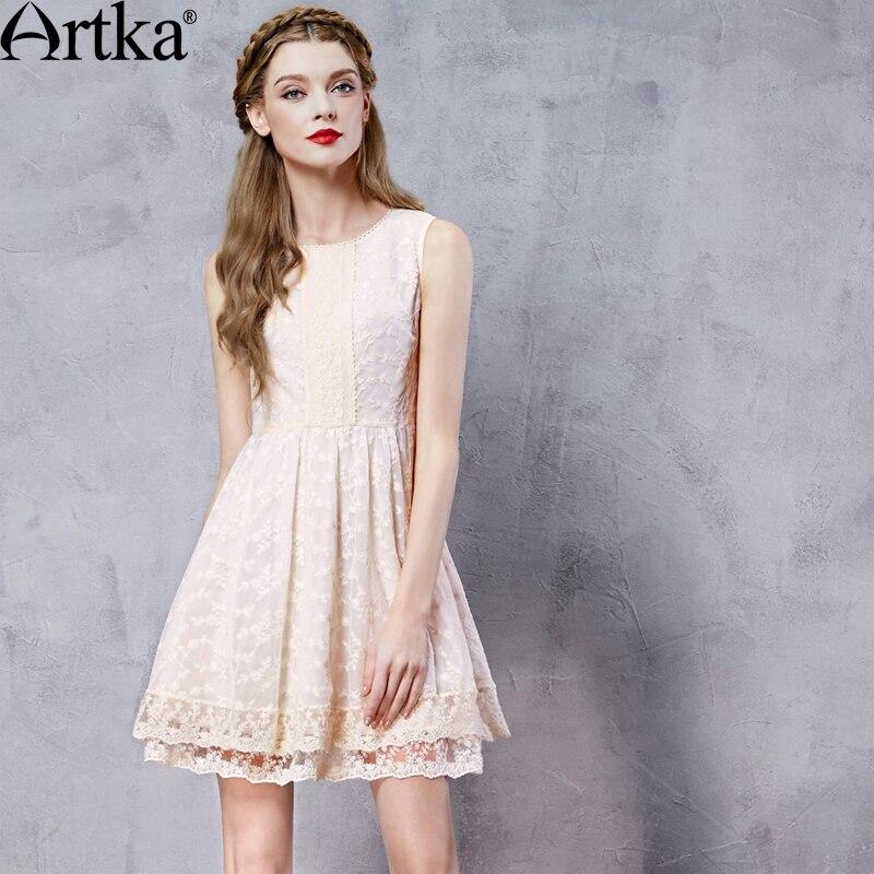 ARTKA Women's Summer New Embroidery O-neck Sleeveless Off the Shoulder Comfy Elegant Lace Mini Princess Dress LA10160C