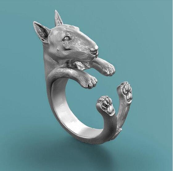 Anillo Retro Bull Terrier shipping-3D gota