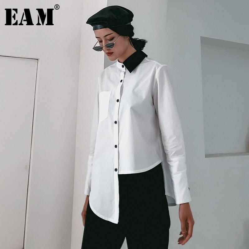 [EAM] 2020 New Spring Autumn Lapel Long Sleeve Hit Color Irregular Hem Loose Brief Shirt Women Blouse Fashion Tide JR195