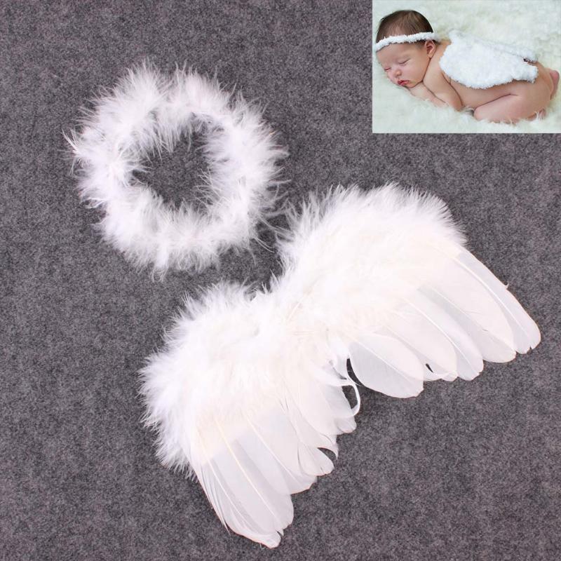 Accesorios de fotografía recién nacido alas de Ángel blancas fotos de bebé accesorios alas de plumas niñas pelo bebé fotografía accesorios de pelo para chico