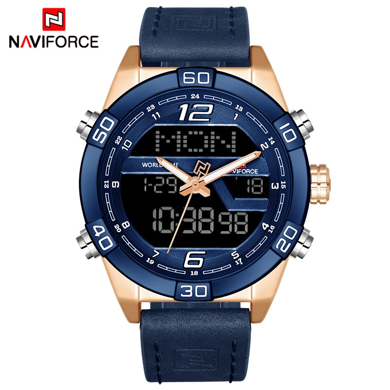 NAVIFORCE Luxury Brand Men Fashion Sports Watches Men's Waterproof Quartz Date Clock Man Leather Army Military Wrist Watch
