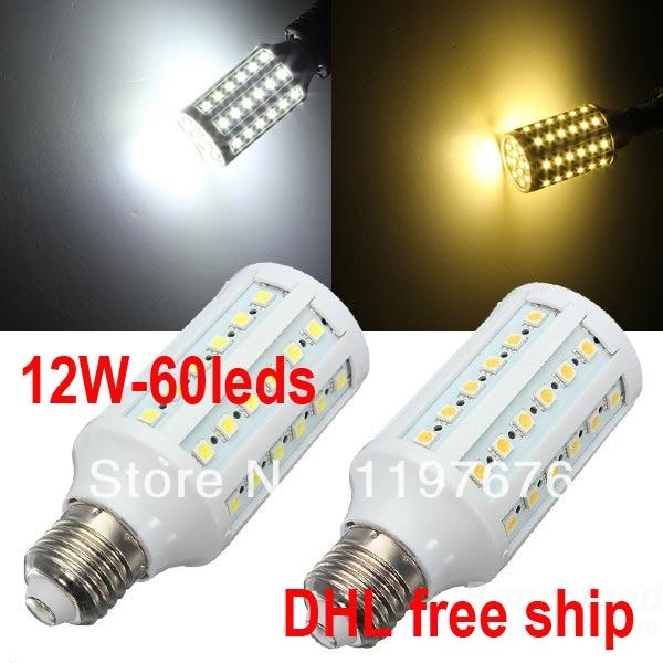 DHL Free Wholesale price 50pcs 12W LED Corn Light 110V/220V E27/E14/B22 60leds SMD5050 LED Corn Bulb High brightness