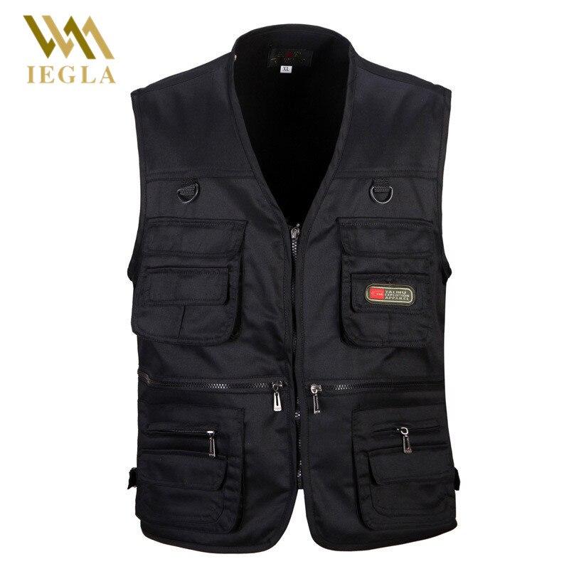 Chaleco masculino de algodón sin mangas de moda para hombres chalecos de pesca informales negros con muchos bolsillos Chaleco de descarga