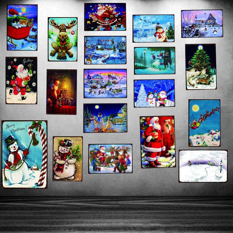 Snowman Christmas Vintage Tin Sign Metal Plate Christmas Decorations For Home Wall Bar Art Party Decor 30X20CM DU-2071