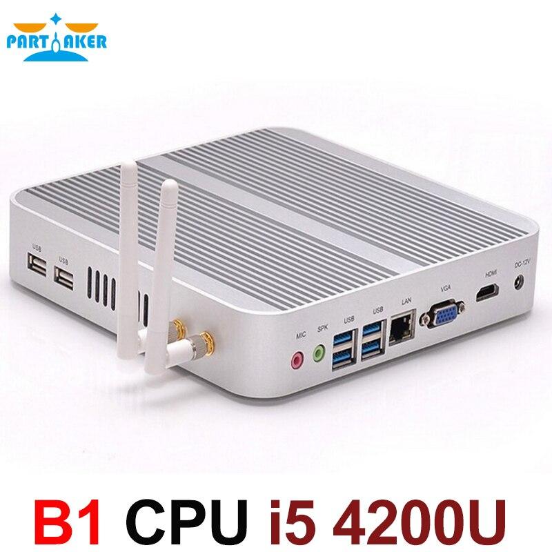 Sin ventilador 4K HTPC TV Box Nuc computadora Barebone Mini PC I5 4200u con Intel Core i5 4200U Max 16G RAM 512G SSD de 1TB HDD Windows 10
