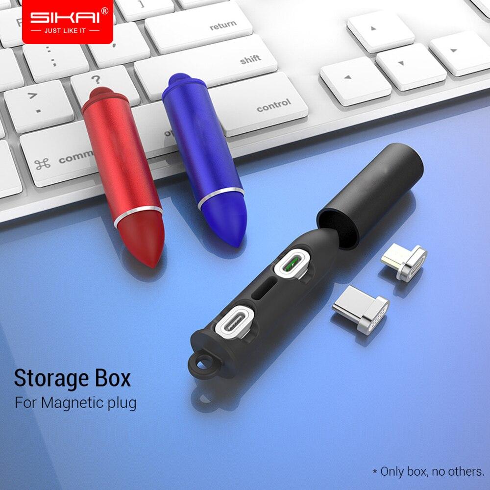 Caja de enchufe de Cable magnético SIKAI, caja de almacenamiento tipo C Micro USB C, adaptador de carga rápida para teléfono Microusb, enchufes de cargador magnéticos tipo C