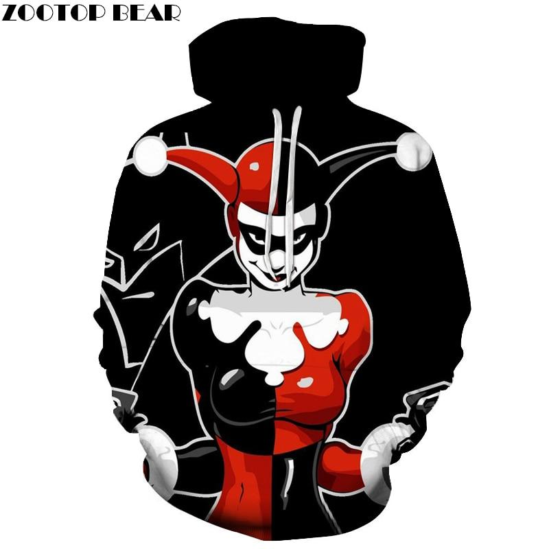 Harley Quinn Hoodies Joker Hoodie Badass 3d men Women Sweatshirts Movie Funny Printed Novelty Tracksuits Fashion Pullover Brand