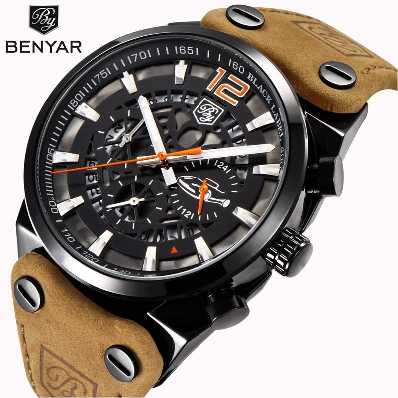 Reloj deportivo BENYAR para hombre, cronógrafo de lujo, reloj de cuarzo para hombre, reloj de cuero resistente al agua, reloj XFCS para hombre