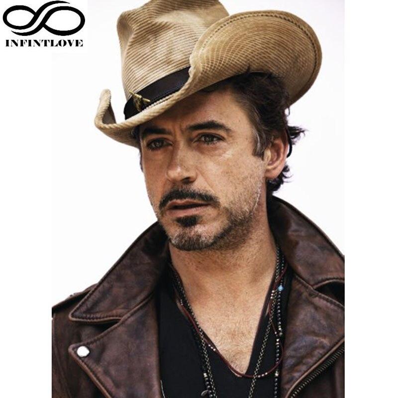 LUCKYLIANJI 3D Metal Bull Adjustable Leather Band Chin Strap Gangster Cap Travel Western Cowboy Summer Sun Straw Panama Jazz Hat