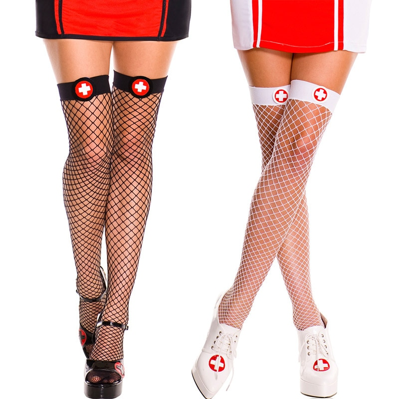 Lencería Sexy enfermera Cruz Toppers Top Fishnet Mini diamante red medias fantasía nylon ropa interior
