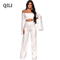 qili women off shoulder split long sleeve jumpsuits rompers hollow out wide leg jumpsuit white blue red casual jumpsuits