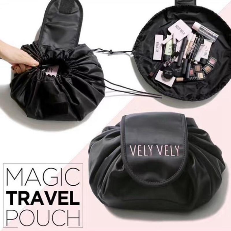 Alta capacidade 2018 moda feminina poliéster viagem forma barril saco de cosméticos beleza maquiagem saco de lavagem maquiagem organizador do banheiro