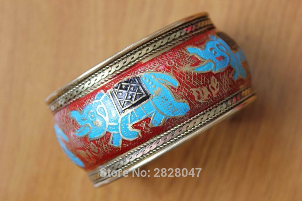 Brazalete abierto de elefante pintado a mano indio BR379, brazalete ancho de 37mm, brazaletes ajustables para mujeres bohemias tibetanas