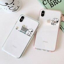Прозрачный Ультратонкий чехол с рисунком собаки и птицы для iPhone 7 8 Plus прозрачные чехлы для телефона Чехлы для iphone 6 s 6 s Plus X XR XS max