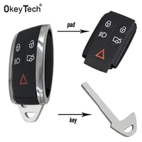okeytech for jaguar x xf xk xkr 5 buttons new smart remote key case keyless entry fob shell cover housing blade replacement pad