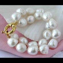Очаровательный женский подарок на день рождения, рождественский подарок, жемчужный браслет, 2 ряда 11-15 мм, рисовый Белый Пресноводный Культи...