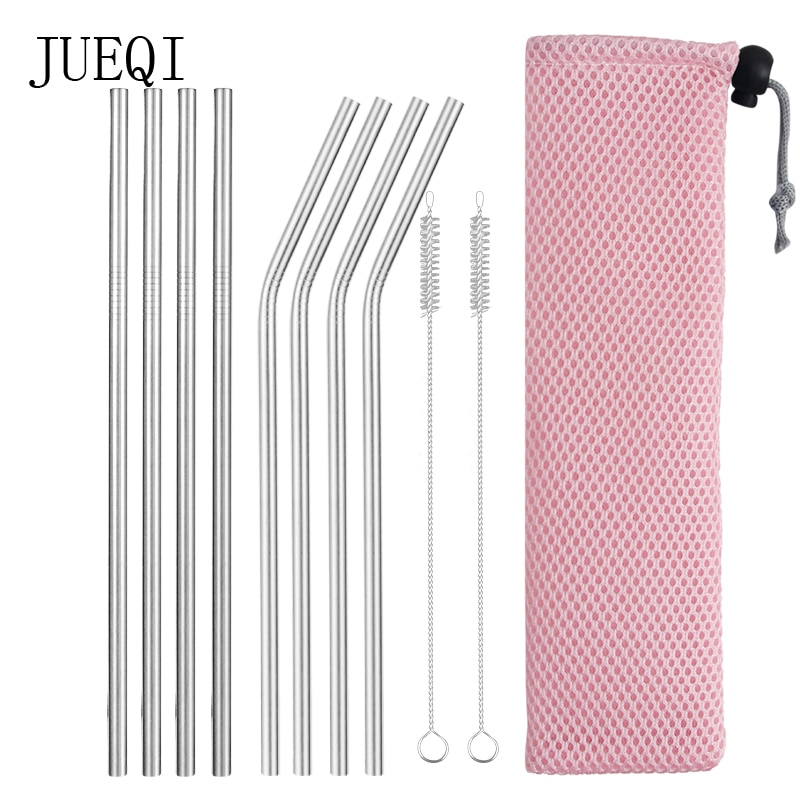 Reusable Metal Drinking Straws 304 Stainless Steel Sturdy Bent Straight Drinks Straw with Cleaning Brush Bar Party Accessory stainless steel straws titanium plated colored metal straws environmentally friendly innovative for drinks milk tea