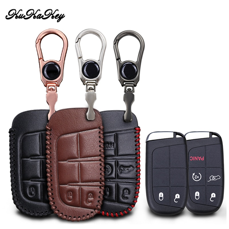 KUKAKEY Leather Car Key Case Cover For Jeep Grand Cherokee Compass Wrangler Renegade Hard Steel 2016 2017 Chrysler 300C For Fiat