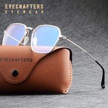 Montura de gafas ópticas Anti-rayos azules para hombre, lentes transparentes, gafas de ordenador, montura de gafas de aluminio Retro