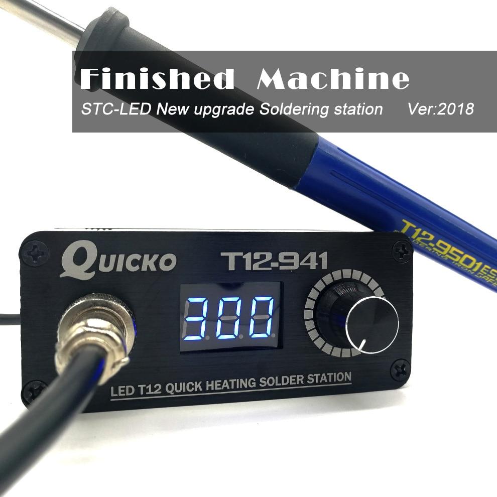 Мини-светодиодный паяльник Quicko T12-941 с 9501 ручкой и адаптером ЕС, 24V3A, портативный сварочный инструмент T12 с железным наконечником, 2019