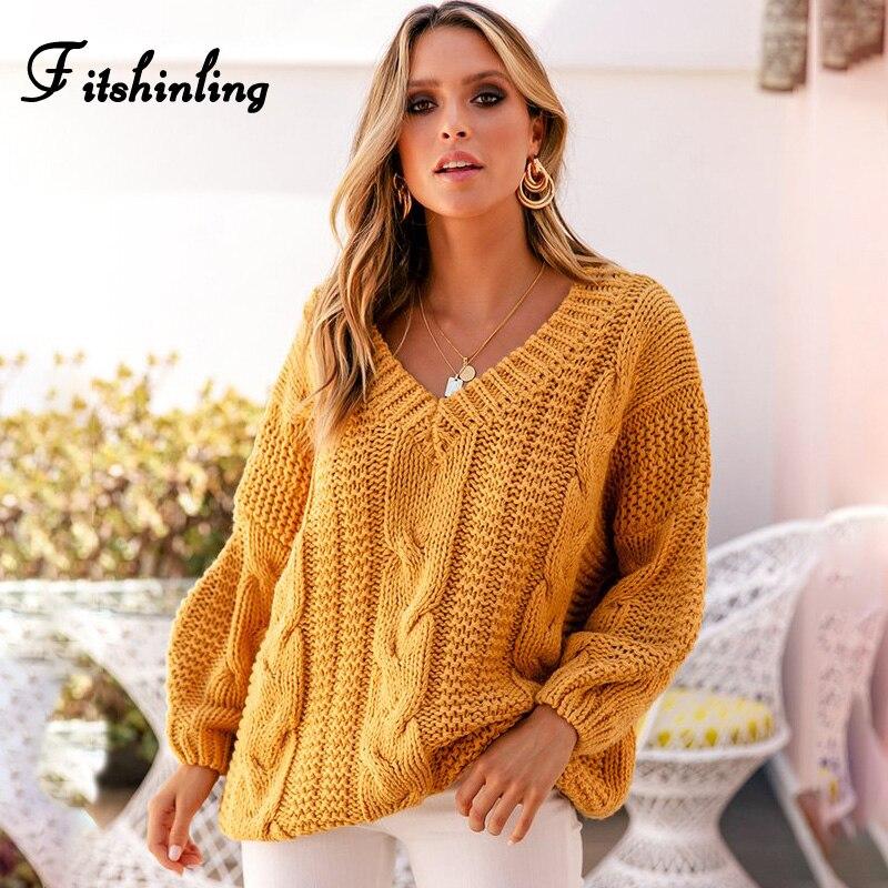 Fitshinling Twist 2019 suéter mujer invierno 2019 manga larga cuello pico mujeres amarillas suéteres y suéteres de punto Mujer