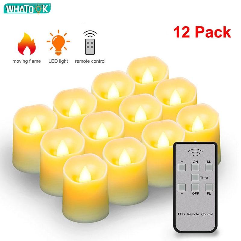 Batería LED Velas sin llama Control remoto luces de té eléctricas falsas Velas blanca cálida llama Votive Timer Tealight Home Decoration