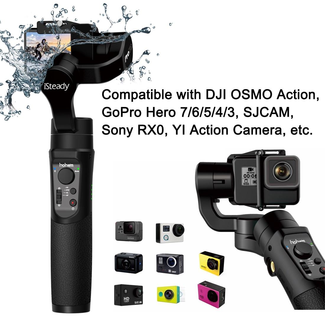 Hohem iSteady Pro 2 a prueba de salpicaduras 3-eje de Gimble para DJI Osmo Sony RX0A acción Gopro héroe 7 /6/5/4/3 Cámara de Acción SJCAM YI