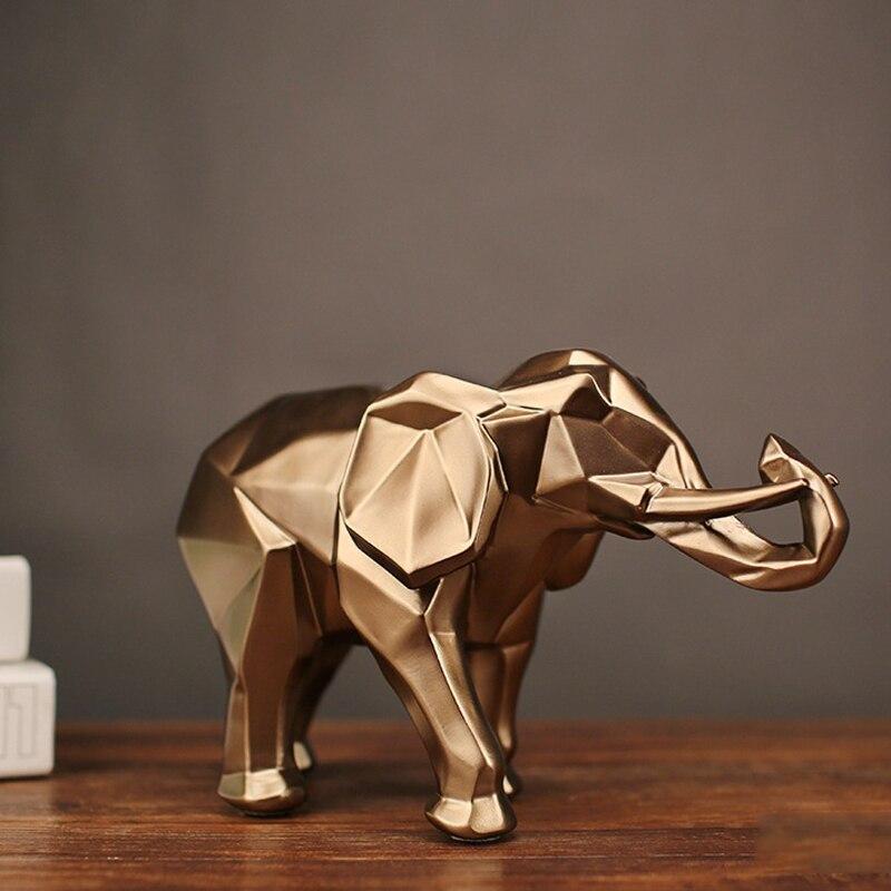 Estatua abstracta de Elefante dorado de moda, adornos de resina para decoración del hogar, accesorios de regalo, escultura geométrica de elefante, manualidades para habitación