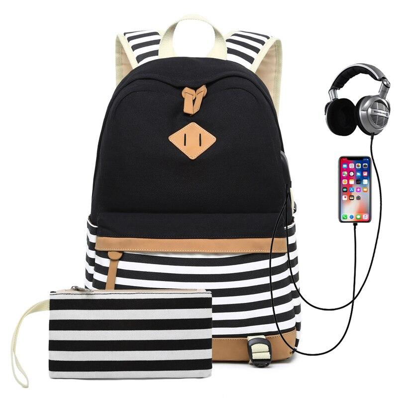 Mochila de lona de gran capacidad para mujeres, Mochila para chicas adolescentes/niños, Mochila escolar informal a rayas, USB con auriculares, Mochila