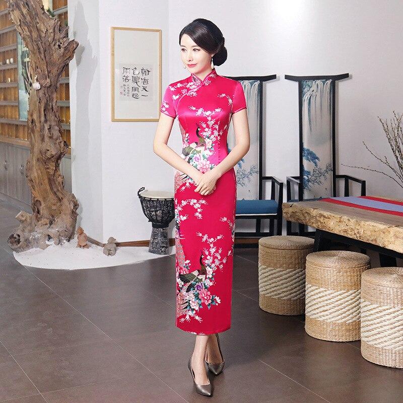 Модное китайское стильное платье Ципао, Новое поступление, летнее женское длинное платье из искусственного шелка, элегантное тонкое платье...