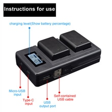 Chargeur de batterie Camer double Ports LCD affichage NP-FW50 batterie chargeur intelligent support pour Sony Alpha A6000 A6300 A6500 A7r A7