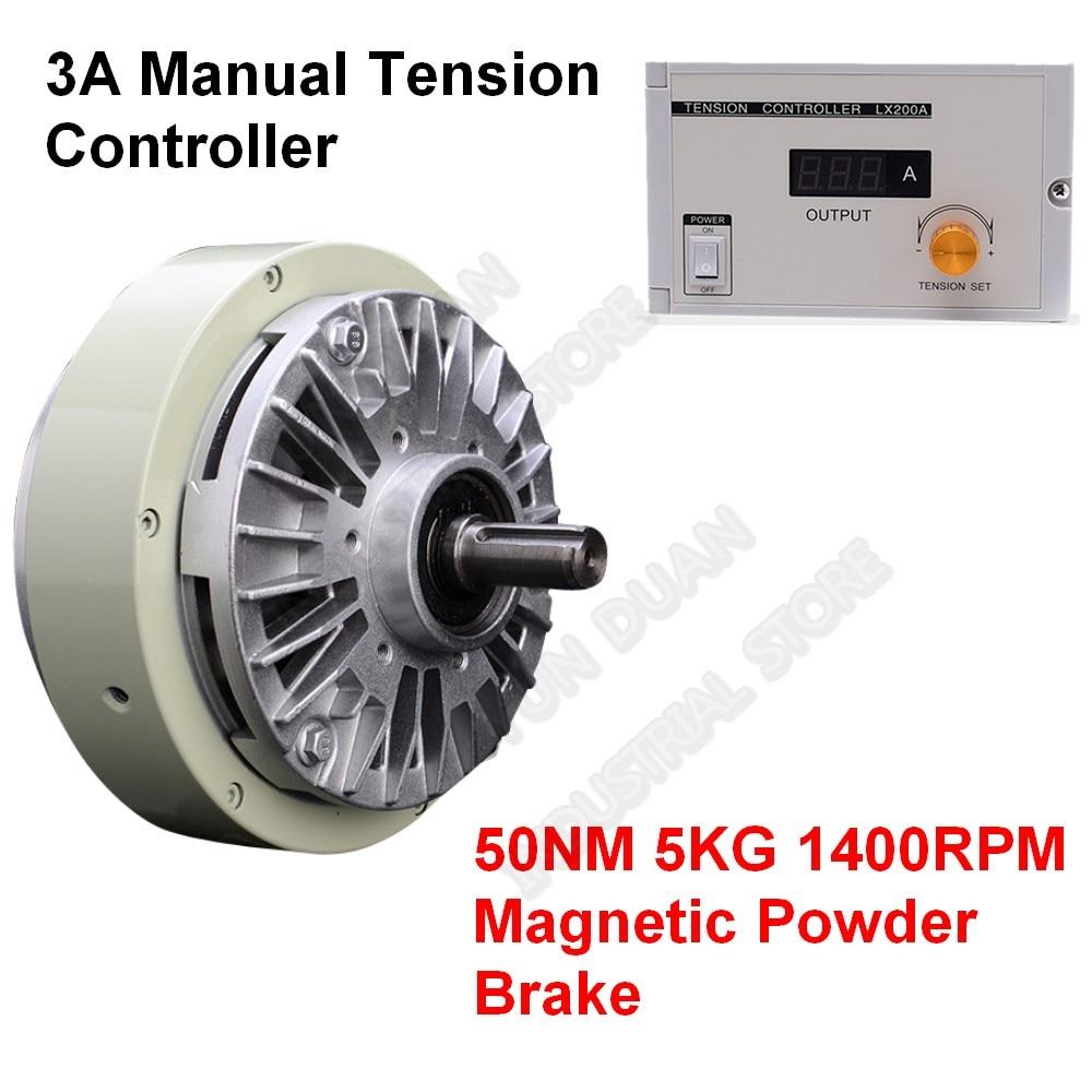 5KG 50Nm DC 24V One Single Shaft  Magnetic Powder Brake & 3A Manual Tension Controller Kits for Bagging Printing Dyeing Machine