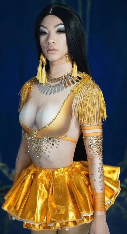 بدلة رقص نسائية قابلة للتمدد ، زي مغني الأداء ، جسم مثير ، أحجار الراين الذهبية ، شرابة ، ملابس المسرح ، يوتار