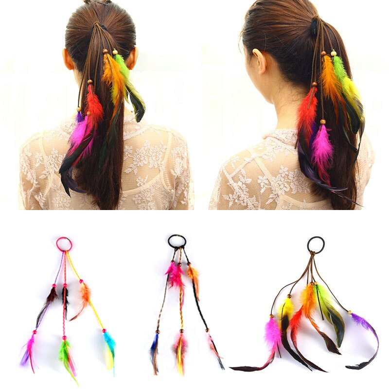 Boêmio scrunchie elástico faixas de cabelo feminino menina colorido pena bandana tecelagem acessórios de cabelo corda goma borracha