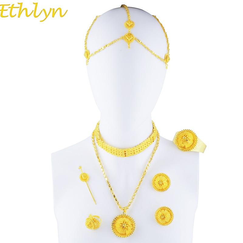 Ethlyn, комплекты ювелирных изделий из эфиопского материала, Золотое колье и цепочки ручной работы, роскошные комплекты для женщин, свадебные ...