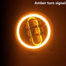Phares antibrouillard hors route 60W   2 pièces, anneau dange en Halo ambre, pour Jeep Wrangler JK TJ LJ Dodge Chrysler conduite