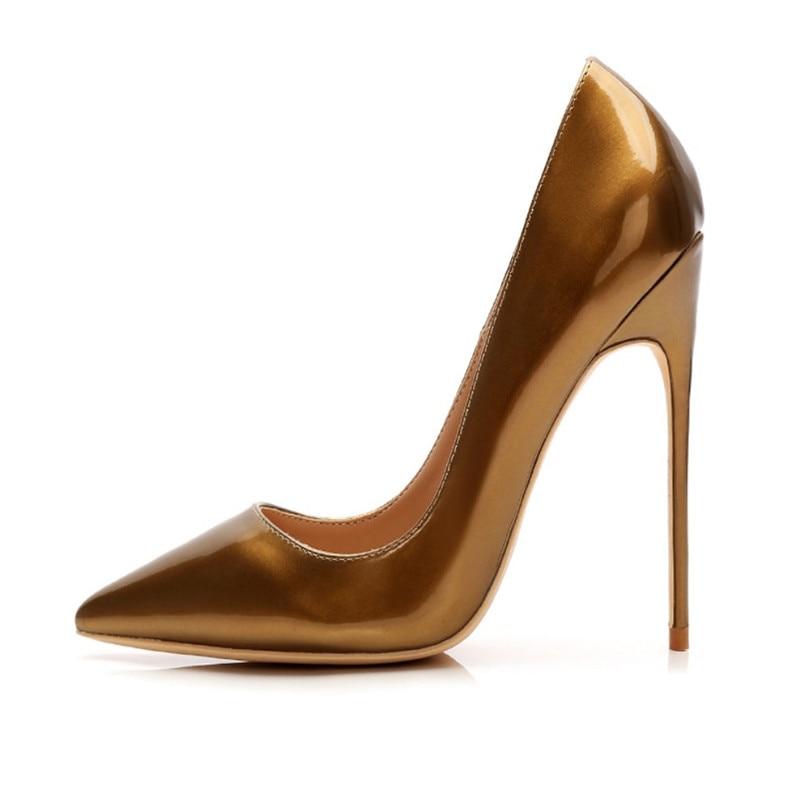 Бесплатная доставка; модные женские туфли-лодочки; женские туфли из лакированной кожи с острым носком на высоком каблуке; size33-43 туфли на шпи...