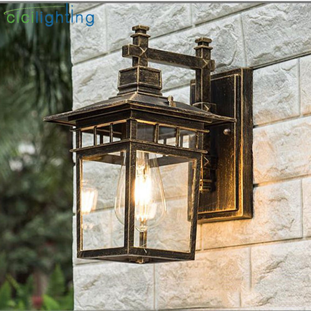 Vintage Art decoration Outdoor Porch Lights,Aluminum + Glass Lampshade Waterproof E27 Wall Lamp,Red Bronze Black Balcony Sconces enlarge