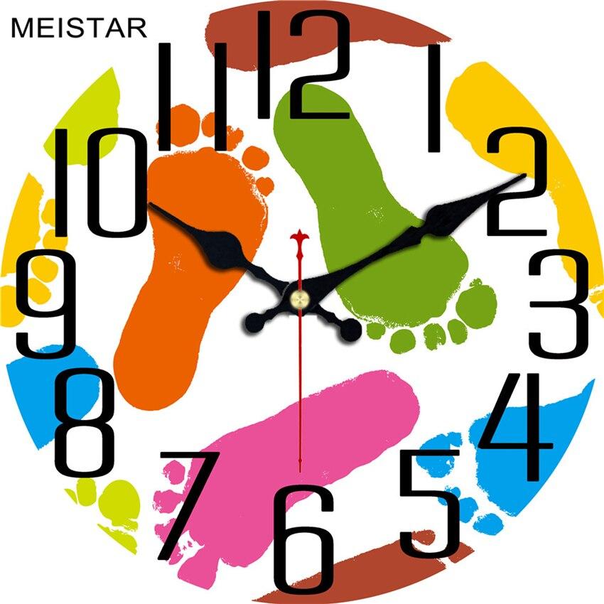 MEISTAR, креативные деревянные настенные часы с рисунком из мультфильма для детской гостиной, комнаты жирафа, часы для домашнего декора, больши...