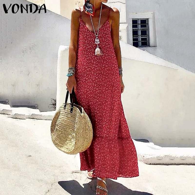 VONDA-vestido playero largo suelto de mujer, vestido largo estampado, sin mangas, con cuello de pico, informal y holgado hasta 5XL, 2020